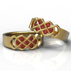 """This listing is for a SET OF 2 RINGS! For some reason, Etsy wont let me put in a second ring size option, so I just tell people to select the size of the first ring and put the size for the second in the notes. A more traditional knot, the """"Murphy Knot"""" is a classic example of a"""