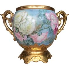 Gorgeous Limoges Roses Jardiniere