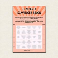 Date you play this Hen Party Bingo Scavenger Hunt by TheCraftPixie?