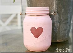 Valeninte Craft Idea - Mason Jar Craft Idea - Painted Mason Jar Lantern - Painted Mason Jar Heart Jar - @Mason Jar Crafts Love