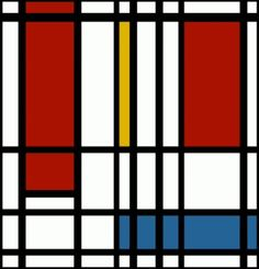 """animated mondrian by Oren Rubin. This work is a combination between art and music; the famous Mondrian piece """"composition with yellow, blue and red"""" moves to the sounds of a song by Eviatar Banai. the movements of each color is coordinated with a different instrument- yellow for the cello, red for the violin and blue for the bas."""