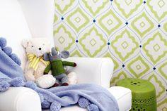 Project Nursery - Lime Green Ikat Nursery Wallpaper - Project Nursery
