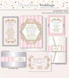 Royal Elegance Wedding invitation Suite. Scrolls by NellieandCo, $75.00