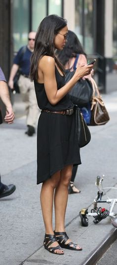 black tee dress. gladiator sandals. street style.