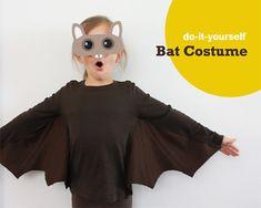 DIY Bat Costume for Halloween Disfarces Halloween, Couture Pour Halloween, Halloween Costumes Kids Homemade, Mascaras Halloween, Halloween Clothes, Kids Bat Costume, Halloween Costume Patterns, Costume Ideas, Diy Costumes