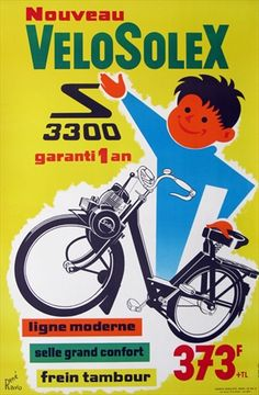 "Check out the ""New"" VeloSolex! With a poster so happy, how could you not buy the bike? Vintage European Posters at vepca.com"