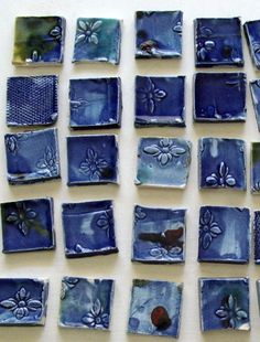 4 Blue Ceramic Tiles  Handmade for Jewelry by buttonsandtiles, $5.00