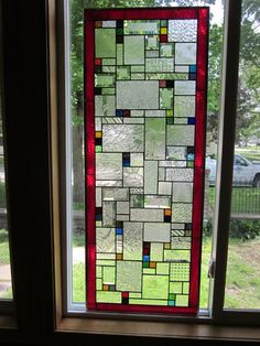 Large Stained Glass Window Panels | Berto Large Stained Glass Window Panel Abstract Geometric EBSQ Artist ...