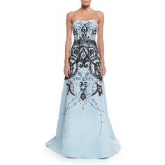 Carolina Herrera Strapless Embroidered Gown ($10,495) ❤ liked on Polyvore featuring dresses, gowns, baby blue, baby blue dress, strapless sweetheart dress, blue silk dress, a line dress and a line gown
