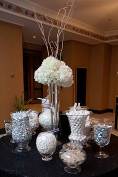Black, white and silver winter wedding candy buffet.    #candy buffet #wedding