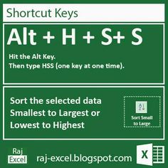 Raj Excel: Microsoft Excel 2013 Short Cut Keys: Alt + HSS (So...