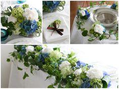 ブルーのアジサイや白いシャクヤクを使った、初夏らしい爽やかな高砂の装花。 ゲストテーブルアレンジはシックなブリキの器にたっぷりお花を生けて。 ケーキテーブルの装花には小さなアレンジと実やつるものでテーブルをぐるりと囲んで華やかに。