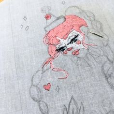 In progress  #embroideryart #embroidery #wip #squidvishuss #clown #pink #kitsch #kawaii #fineart