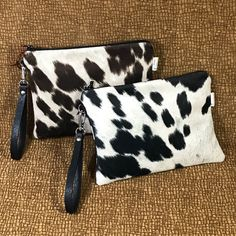 Cowhide Clutch Ourse with Wristlet strap Cowhide Fabric, Cowhide Bag, Cowhide Leather, Handmade Leather, Leather Craft, Clutch Purse, Purse Wallet, Minimalist Bag, Pencil Bags