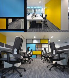 Open Plan Office with sky-blue and yellow glass wall! #openplanoffice Cubicles.com