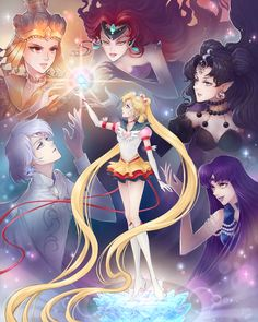 An illustrated poster featuring Eternal Sailor Moon and villians Queen Beryl, Queen Nehellenia, Mistress 9, Prince Diamond, and Sailor Galaxia.  Originally featured in the 2014 Moon Crisis: A Sailor Moon Tribute Show.  This print comes in 16 x 20 in.  I autograph all prints. If you don't wan...