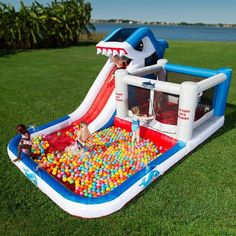 Water Slide Combo Bounce House | Blast Zone Shark Park Bounce House and Water Slide Combo. Free ...