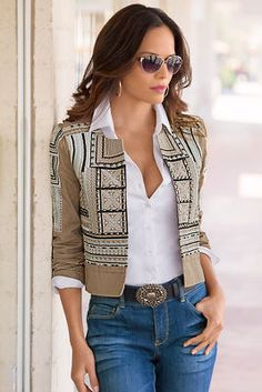 Embroidered Crop Jacket,Fashion and style go hand-in-hand when you wear this crop jacket with distinctive geometric embroidery and stud detailing on the front and sleeves. Black Suit Black Shirt, Classy Outfits, Casual Outfits, Black Mesh Crop Top, Western Dresses For Women, Backless Shirt, Embroidered Jacket, Casual Tops For Women, Look Fashion