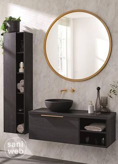 House Bathroom, Restroom Decor, Bathroom Styling, Bathroom Mirror, Round Mirror Bathroom, Bathroom, Bathroom Inspo, Bathroom Decor, Bathroom Inspiration
