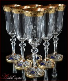 In our online store you can buy beautiful Czech wine glasses for every taste - from Bohemia crystal and glass! All sets are blown and faceted by hand, painted with gold paint, some present molding smalt, engraving rim! Wedding Champagne Flutes, Crystal Champagne, Champagne Glasses, Bohemia Crystal, Bohemia Glass, Crystal Wine Glasses, Crystal Glassware, Liqueur Glasses, Mason Jar Wine Glass
