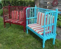 two garden benches made using a jenny lind crib, outdoor furniture, painted furniture, repurposing upcycling