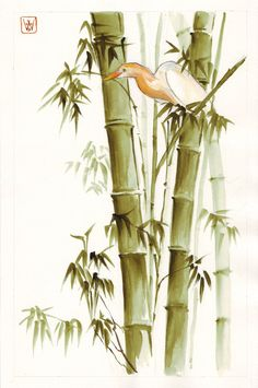 bamboo and heron by emmawood