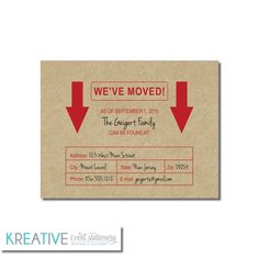 Change of Address Announcement - Cardboard Box - New Address  - Kraft Paper Available - Personalized Printable File or Printed - #00085-MAA2