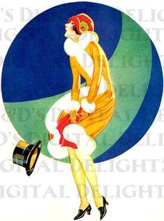 Abito di ENCA andando con il vento. Art Deco Vintage illustrazione.
