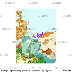 Vintage Daydreaming Mermaid Canvas Print