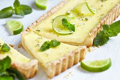 The flavors of a mojito cocktail in a tart. Creamy lime, rum, and mint custard in a buttery, flaky crust. No Bake Desserts, Vegan Desserts, Raw Food Recipes, Pie Recipes, Sweet Recipes, Baking Recipes, Dessert Recipes, Southern Recipes, Mint Custard