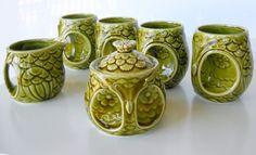 vintage owl mug set with sugar bowl and creamer