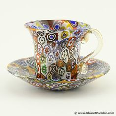 Golden Quilt Murano Millefiori Cup and Saucer, $99 !!