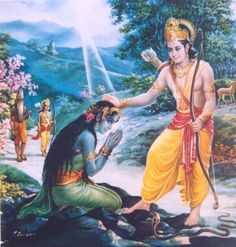 Lord Rama blessing Ahalya from the curse of Sage Gautama
