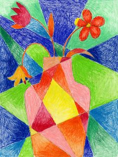 Dissected Flower Drawing. Add shaded corners to up the sophistication to your art. Art Projects for Kids. #abstract