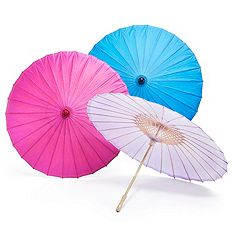 Fun, bright paper parasols - perfect for adding color to pictures, decorating reception halls, or can be used as guest favors