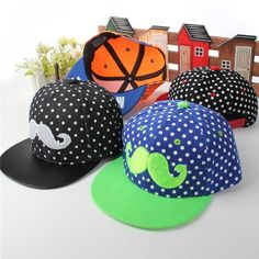 Kids Canvas Beard Hip-Hop Baseball Cap Boys Girls Snapback Peak Hat c8ea86a6add6
