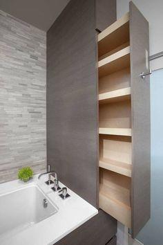 small optimized storage bathroom - small optimized storage bathroom Informations About petite salle de bain rangement optimisée Pin Yo - Bathroom Renos, Bathroom Furniture, Bathroom Remodeling, Bathroom Interior, Design Bathroom, Bathroom Vanities, Remodeling Ideas, Bathroom Wall, Bathroom Shelves