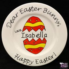 EASTER PLATE - DEAR EASTER BUNNY, PERSONALISED