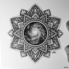 """Mandala design by @tylerhays !!!""""The Universe in the middle"""" just beautiful!! #sacredgeometry #geometricpattern #geometrictattoo #geometrychaos #mandala #dotwork #dots #blackwork #universe #space"""