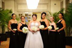 Bride with bridesmaids, black bridesmaid dresses, Ritz Carlton Wedding, Winter wedding