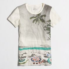J. Crew Collector beach scene tee! J. Crew Collection tee beech scene. Size large, never worn! NWOT. Sold out retails for $48! See pics for fabric content! Bundle my closet and save. No PayPal's or trades! I ship same day or next day almost always. I am a suggested user and top-rated seller! Thank you for checking out my closet.#060 J. Crew Tops Tees - Short Sleeve
