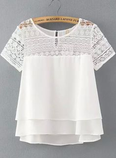White Lace Short Sleeve Loose Chiffon Blouse 17.67
