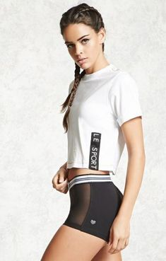 "Sport Outfit : An athletic knit top featuring a front ""Le Sport"" graphic, a ribbed crew neck, short cuffed sleeves, contrast topstitching, and a boxy silhouette. An athletic knit top featuring a Sport Style, Sport Chic, Sport Girl, Sport Sport, Forever 21, Sport Fashion, Fitness Fashion, Moda Academia, Sport Videos"
