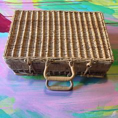 Wicker suitcase, large luggage, picnic basket, vintage wicker ...