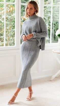 Swxix Grey High Neck Two Piece Sweater Dress Knit Fashion, Fashion Outfits, Beautiful Summer Dresses, Dress Clothes For Women, Fashion Project, Warm Outfits, Knit Dress, Lounge Wear, Wool Blend