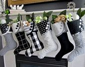 Christmas Stocking Black & White  - Droopy Toe Style.