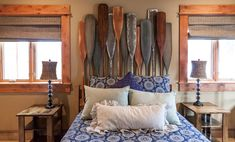 Juniper Hills Retreat by High Camp Home. This headboard would be cool for a boathouse or lake house.