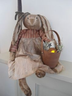 PRIMITIVE bunny Easter Raggedy grungy doll bunny and basket #NaivePrimitive #madewithluvprimitives