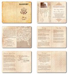 Wedding Invitation Passport Printable Template - Vintage Passport 6 pages