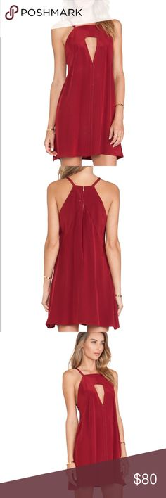 "Helena Quinn Carey Tunic in Scarlett Red Beautiful Scarlett red silky ""Carey tunic"" dress with a high neckline and cutout on the bust. Loose fitting. Zips down the back. 100% cotton. Size small by Helena Quinn. Retails $265. Perfect for date night! Helena Quinn Dresses Mini"